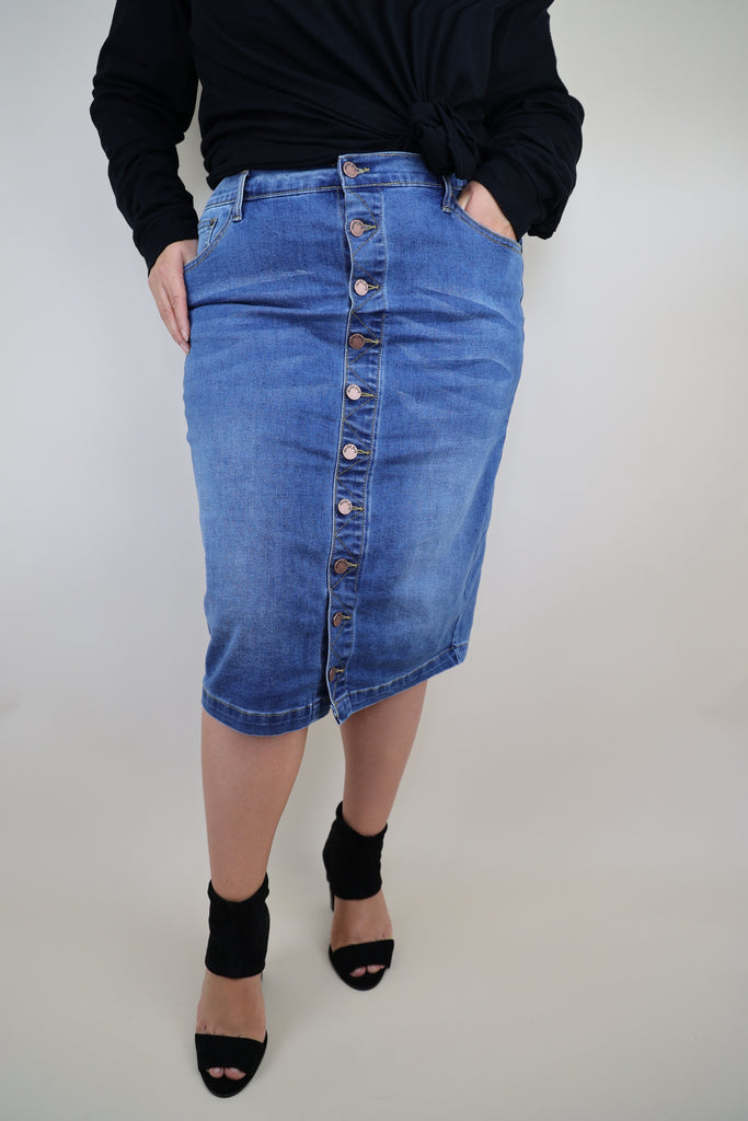 Button Front Stretchy Denim Skirt