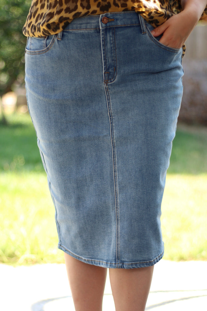 Simple Medium Blue Stretchy Denim Skirt