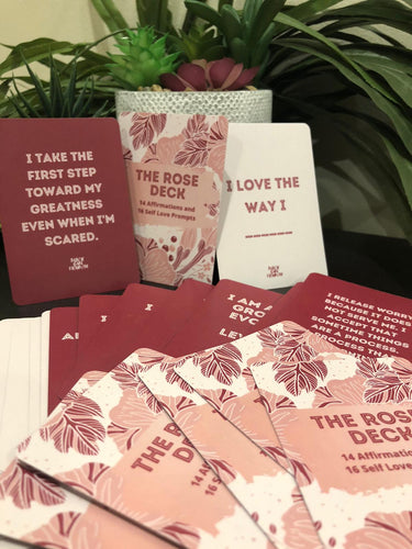 Affirmation Deck with words against plants