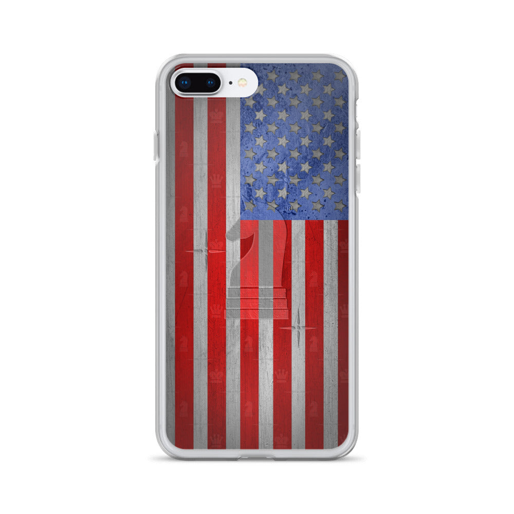 This picture show the zoom of USA Flag Metal Look | Accessories for iPhone | iPhone Case