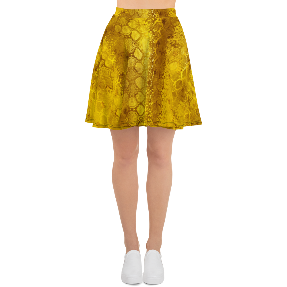 This picture show the zoom of Python Gold | Women's Skirts | Skater Skirt