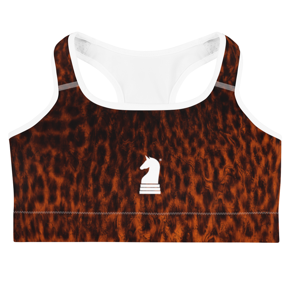This picture show the zoom of Leopard Dark | Women's Activewear | Sports bra