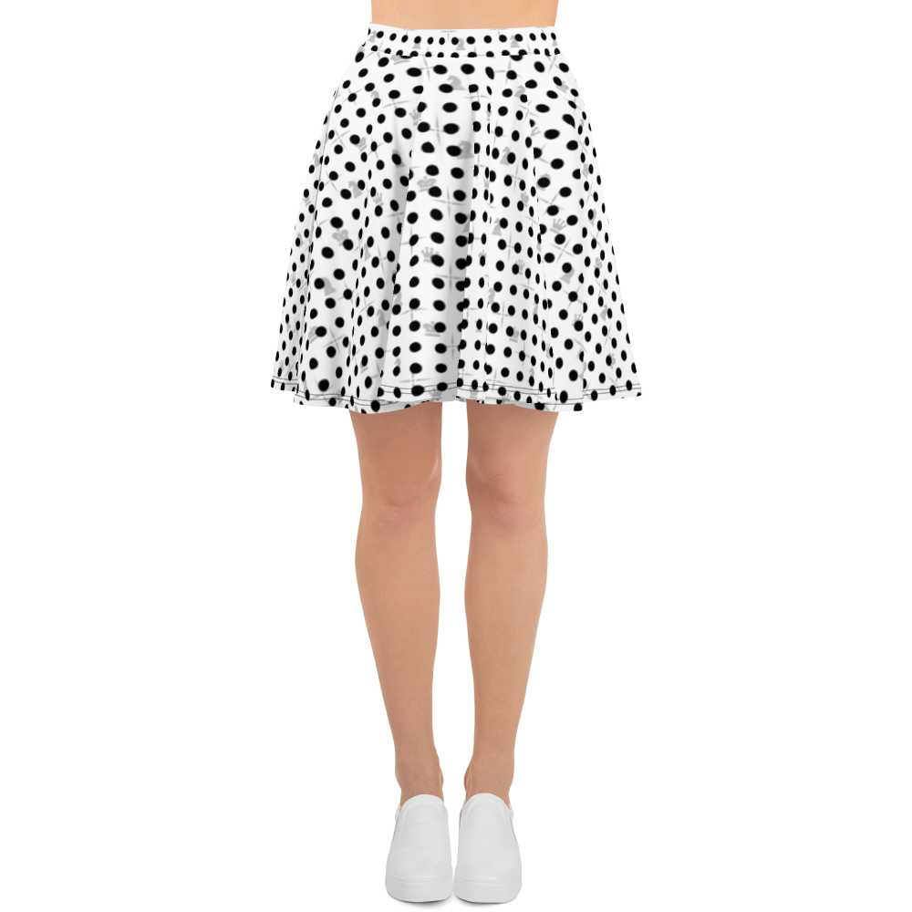 This picture show the zoom of Mighty Dots BW | Women's Skirts | Skater Skirt
