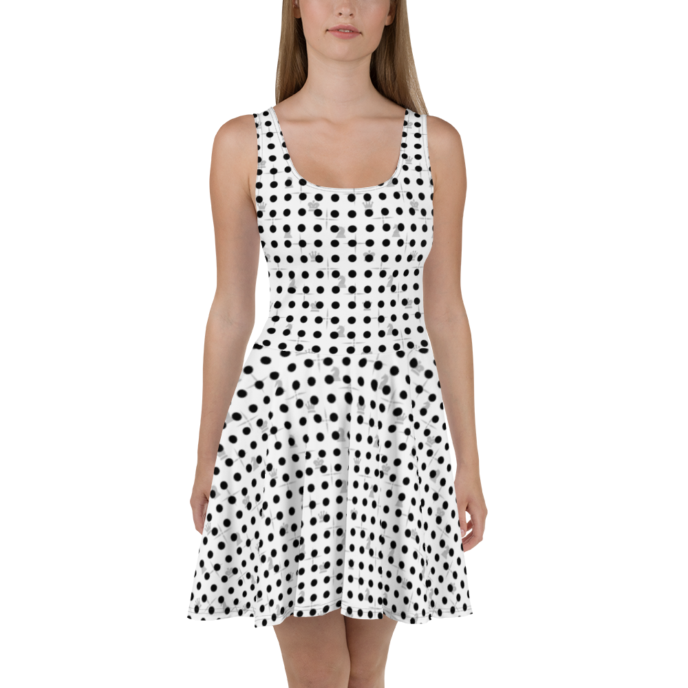 This picture show the zoom of Mighty Dots BW | Women's Dresses | Skater Dress