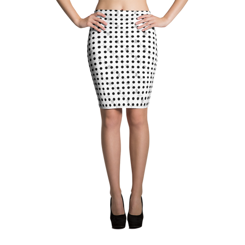 Mighty Dots BW | Women's Skirts | Pencil Skirt
