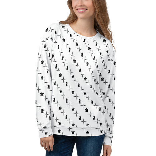 Mighty Logo Black Over White | Women's Casual Wear | AOP Sweatshirt