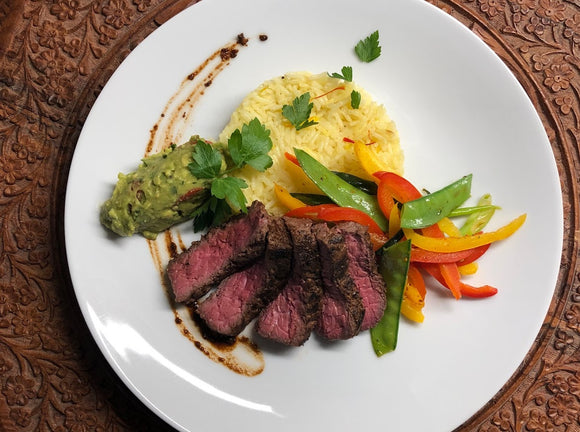 The fresh Viridescent guacamole goes so well with this grilled steak. Try your own version of this quick & easy recipe by adding some different veggies of choice. Re-think hot sauce with Hurt Berry Farm.