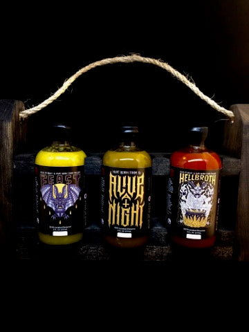 The Trifecta of Terror (All Three Sauces and Custom Wood Caddy)- Very Limited