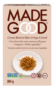 MadeGood Cocoa Brown Rice Crisps Cereal x 2