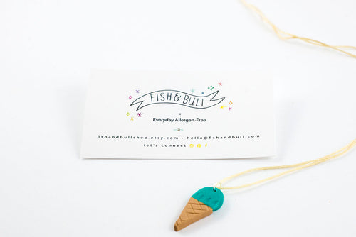 Teal Ice Cream Pendant