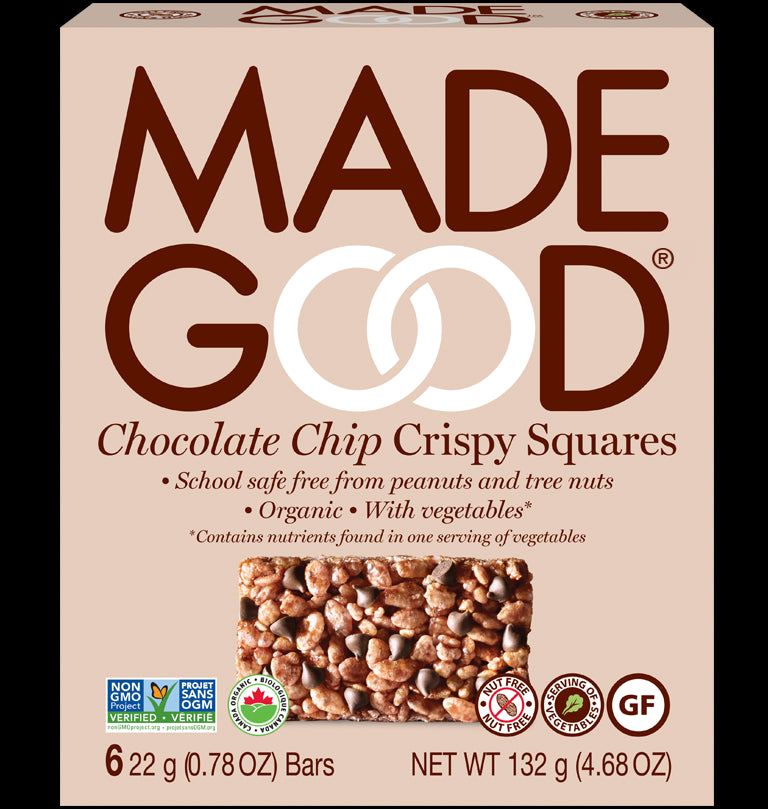 MadeGood Chocolate Chip Crispy Squares, box of 6