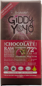 Giddy Yoyo Raspberry 72% Dark Chocolate Bar