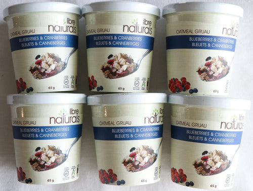 Libre Naturals Blueberries and Cranberries Oatmeal Cup 6 Pack