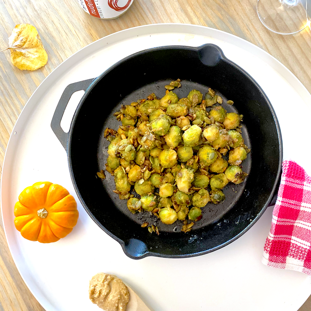nudefood Maple Peanut Brussel Sprouts with Roasted Pumpkin Seeds