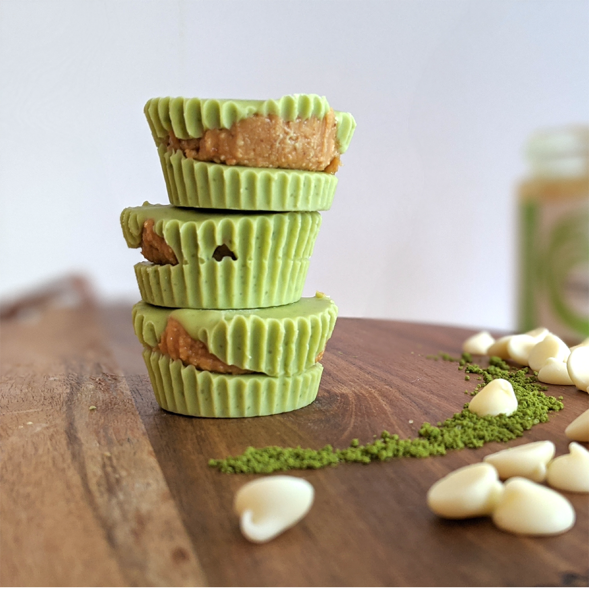 Vegan White Chocolate Matcha PB Cups