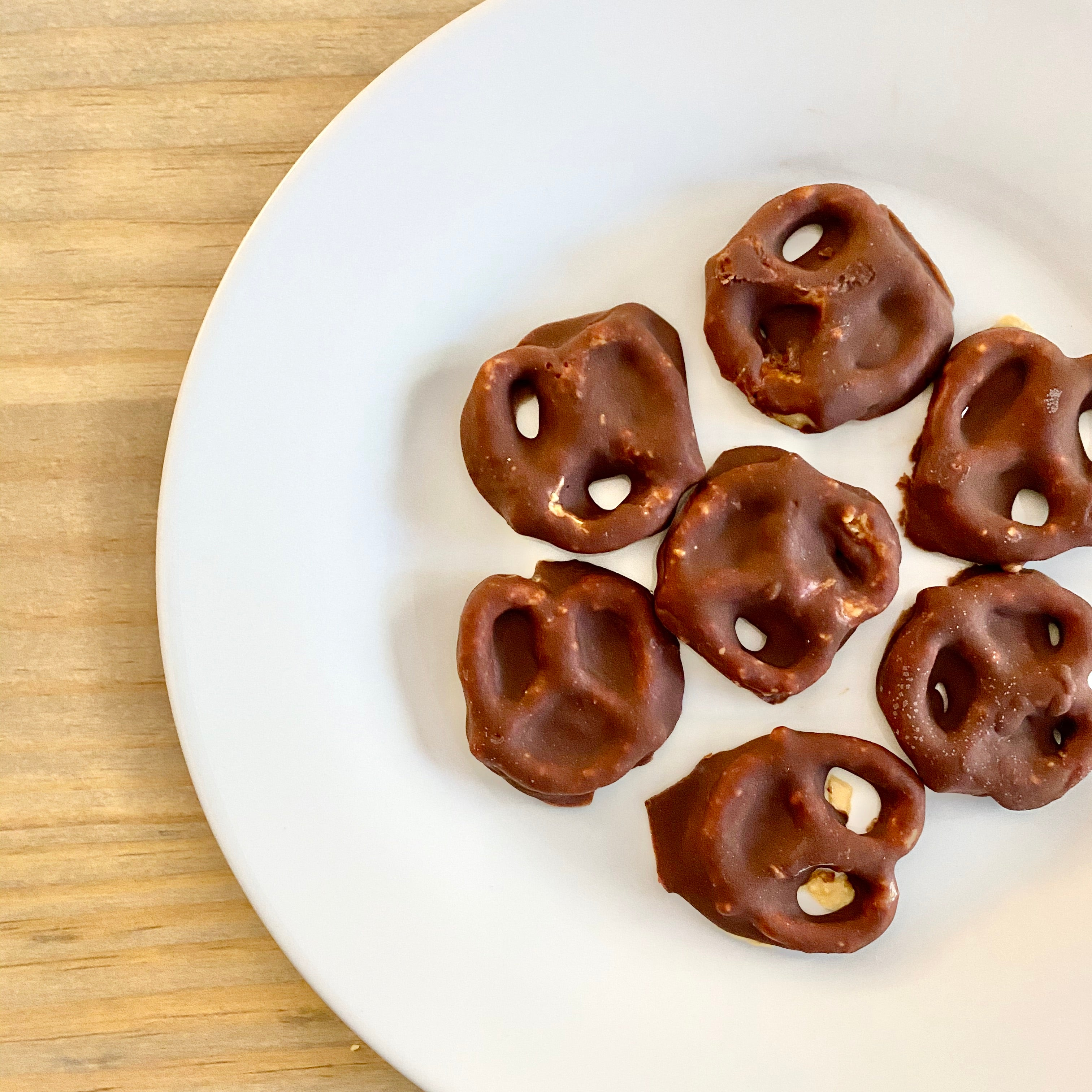 Pretzels covered in Natural Peanut Butter and chocolate.