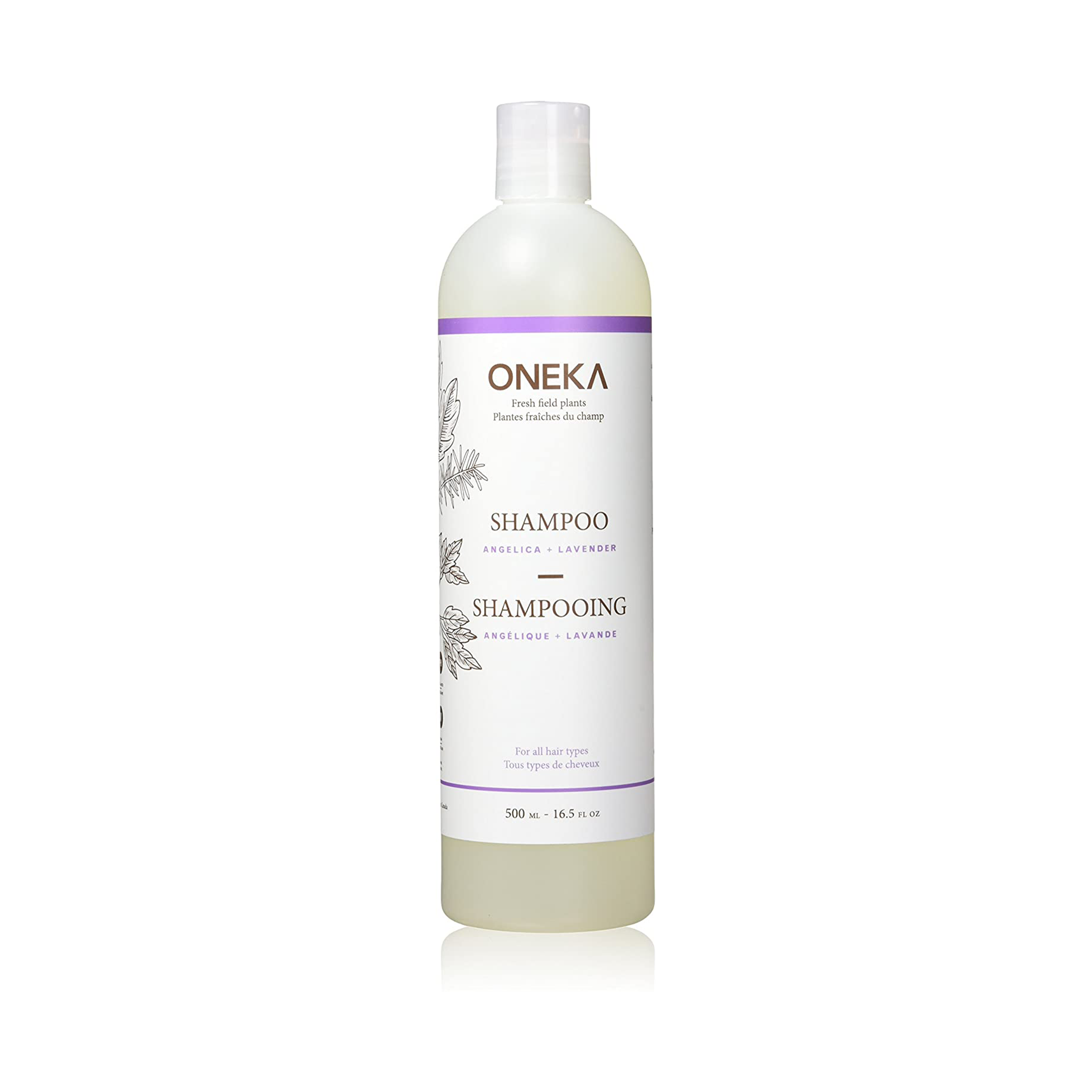Lavender shampoo in bottle.