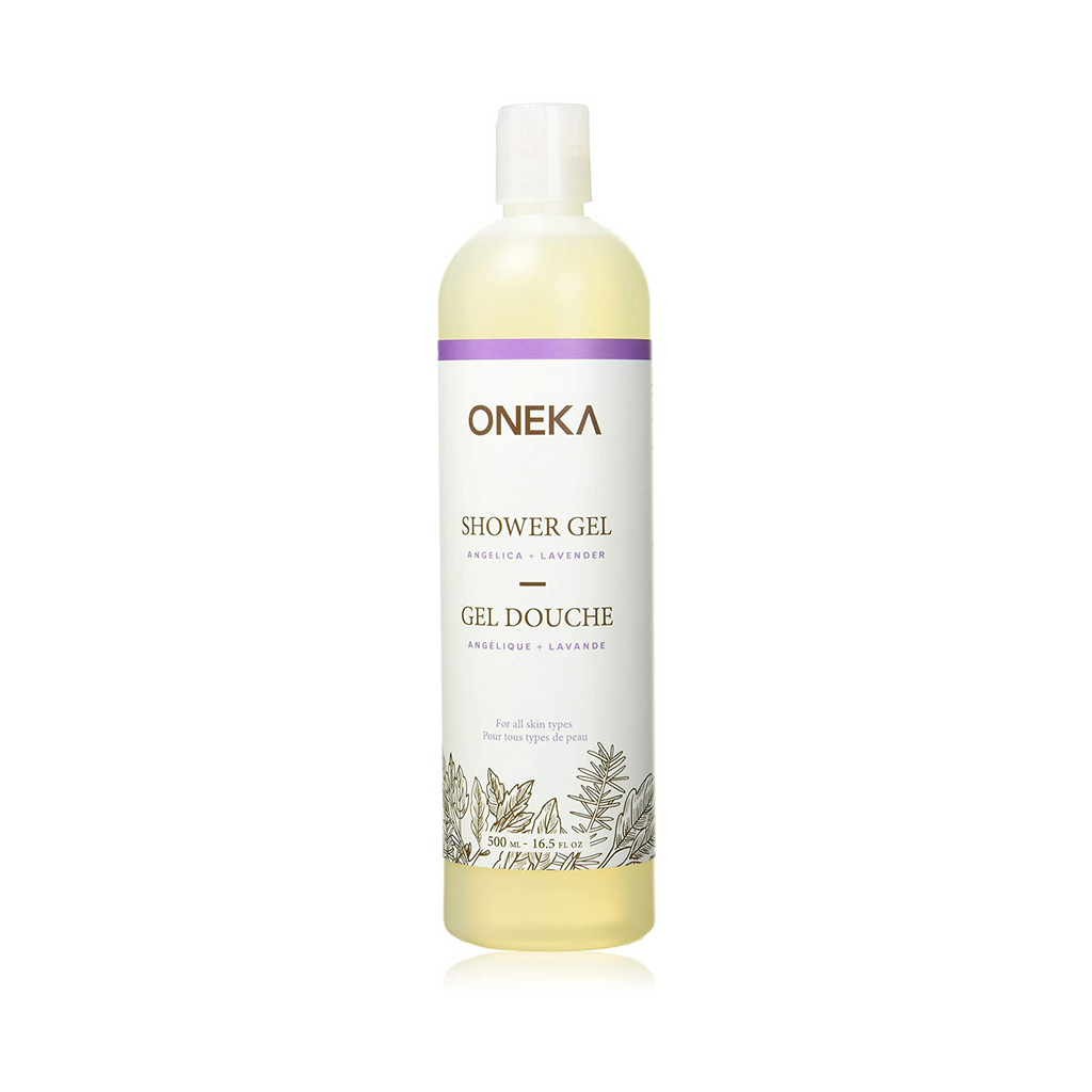 Lavender shower gel in bottle.