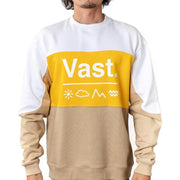 Vast Color Block Crewneck - Yellow/Tan