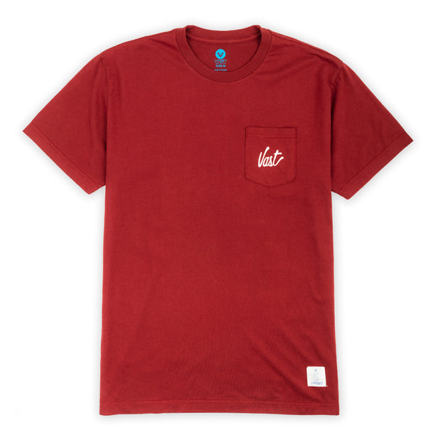 Vast Pocket Script Washed Tee - Red
