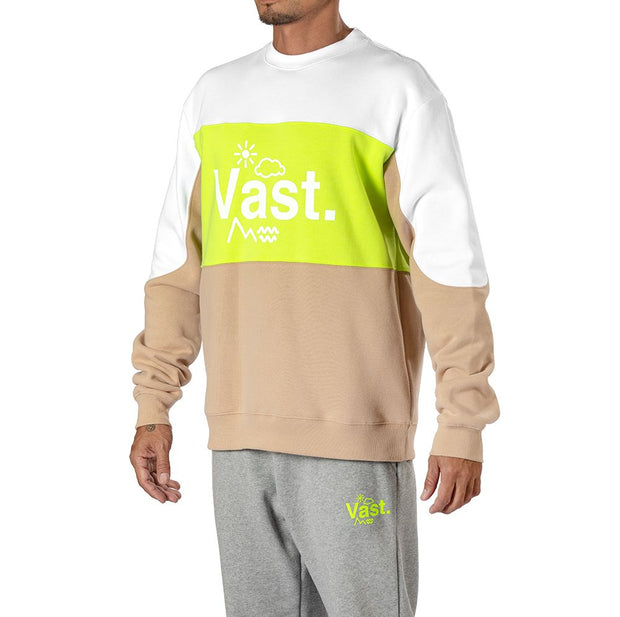 Vast Color Block Crewneck - Safety Yellow