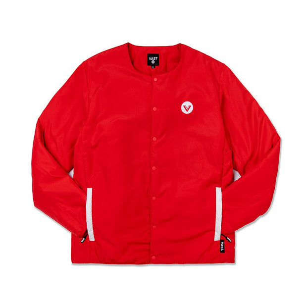 Vast No Collar Puffy Jacket - Red