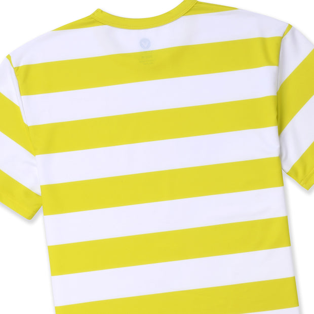 STRIPE SURF TEE-YELLOW/WHITE