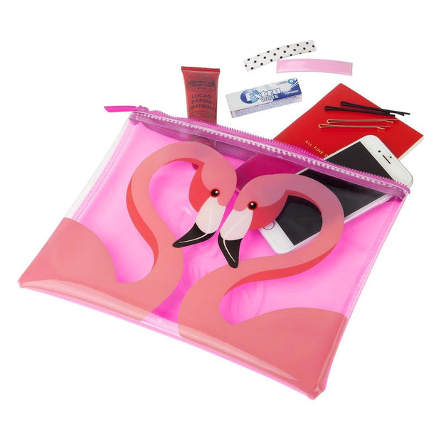 SUNNYLIFE FLAMINGO SEE THRU POUCH