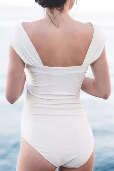Launiq Sexy  Bateau Neck Fold Design White One-piece Swimwears