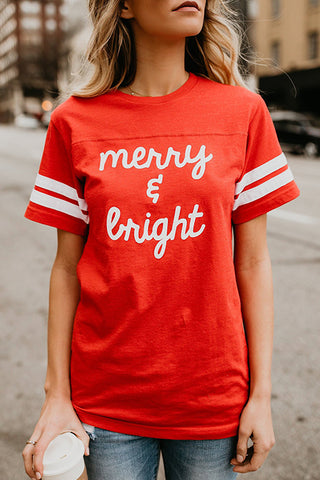 Launiq Short Sleeves Letters Printed Red T-shirt