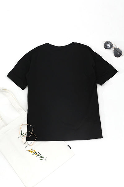 Launiq Round Neck Short Sleeves Letter Printed T-shirt