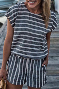Launiq Casual Striped  Drawstring Rompers