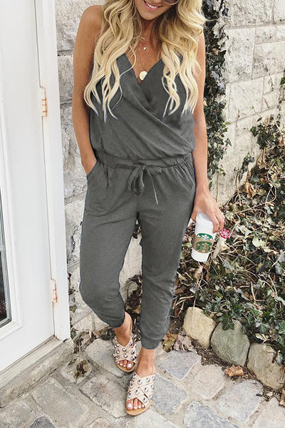 Launiq Casual V Neck Pocketed Jumpsuit