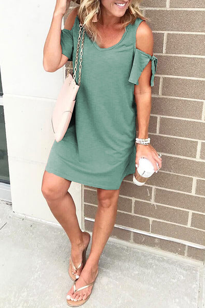 Launiq Cold Shoulder Soft Mini Dress(4 Colors)