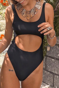 Launiq Sexy Hollowed-out Black One-piece Swimsuit