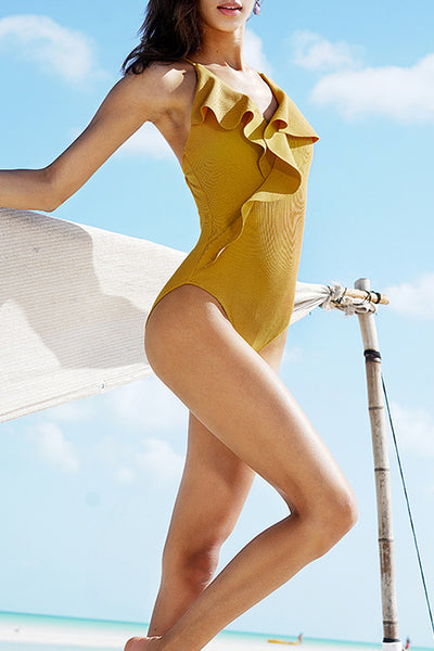 Launiq Trendy Flounce Design Yellow One-piece Swimwears