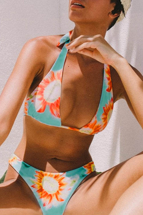 Launiq Sexy Floral Printed Two-piece Swimsuit