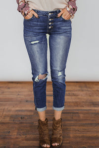 Launiq Trendy Broken Holes Blue Denim Jeans
