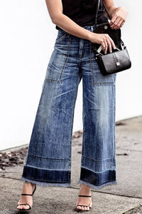Launiq Casual Patchwork Blue Denim Jeans