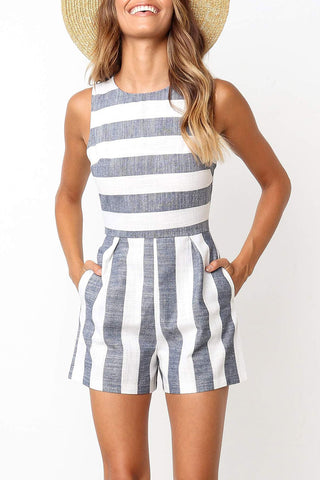 Launiq Sleeveless Striped Rompers(4 Colors)