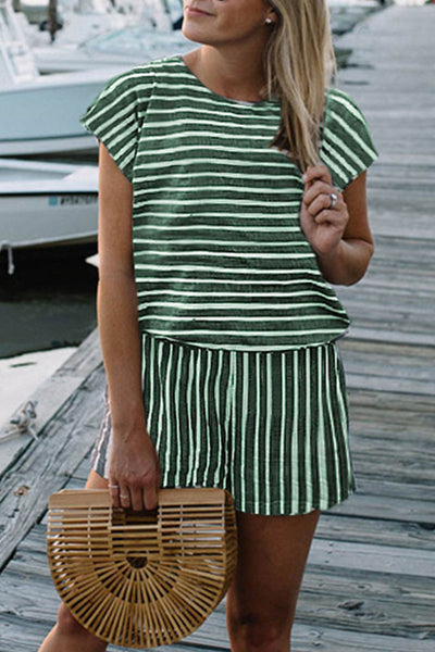 Launiq Striped Loose Green One-piece Rompers