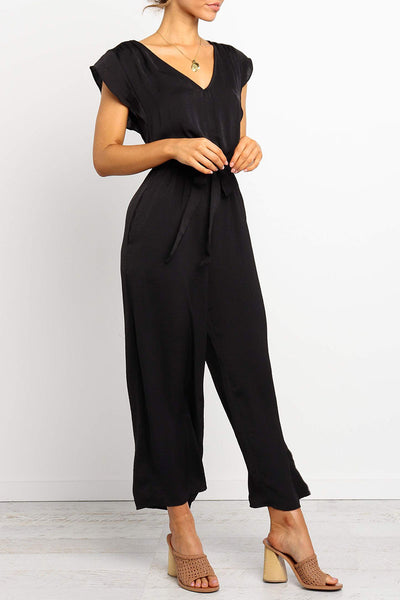 Launiq V Neck Belt Chiffon Jumpsuit
