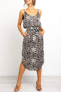 Launiq Spaghetti Straps Leopard Printed Pocket Midi Dress