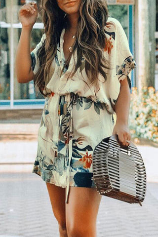 Launiq Floral Printed Mini Dress With belt