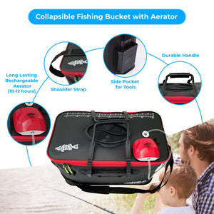 Foldable Fishing Bucket with Oxygen Aerator Pump