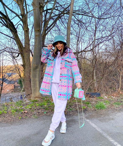 Model shot of Glamify Carley Knitted Longline Plaid Check Shacket