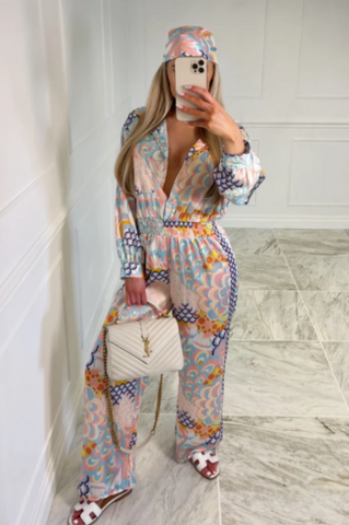 Model shot of Glamify Fashion Hawaii 2 piece printed jumpsuit