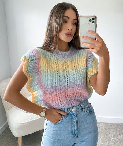 Model shot of Glamify Iris rainbow ombre knitted vest top with ruffles