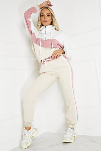 ELLA Pink and Nude Contrast Zip Detail Hooded Tracksuit