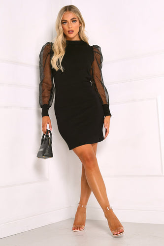 DARCY Black Organza Sleeve Dress